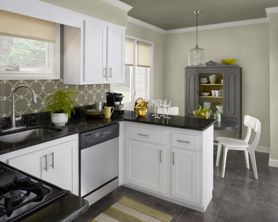 This Look Is Created By Dark Ceiling To Match Backsplash Wallpaper Neutral Walls And White Trim Calming Clean