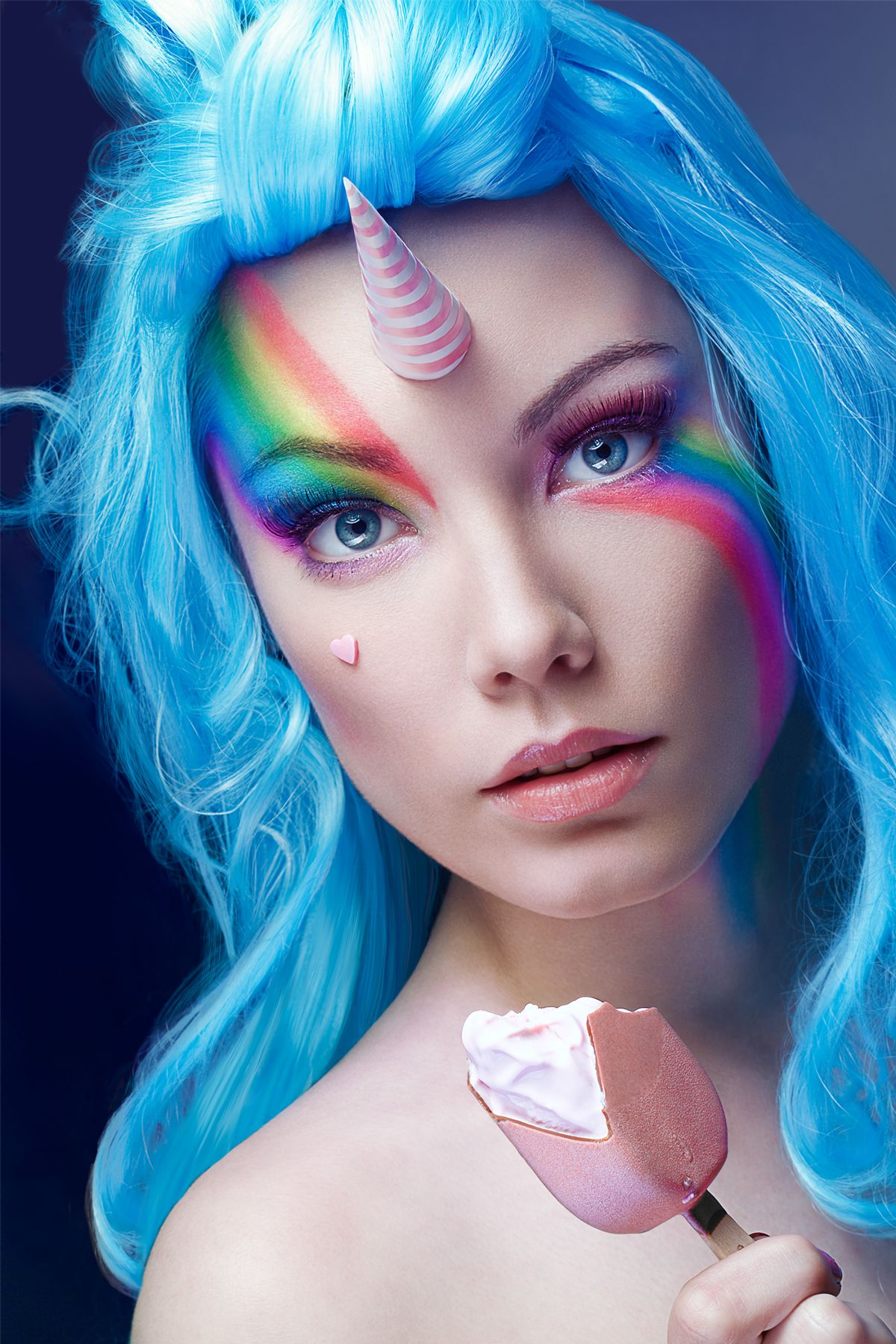 photography,class unicorn licorne shoot photoshoot photo face beauty mua  makeup make up rainbow colorfull wig perruque icecream magnum pink blue arc  en