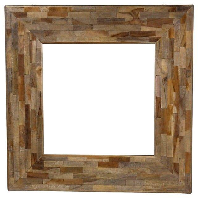 Miroir carré avec cadre en teck recyclé Woody