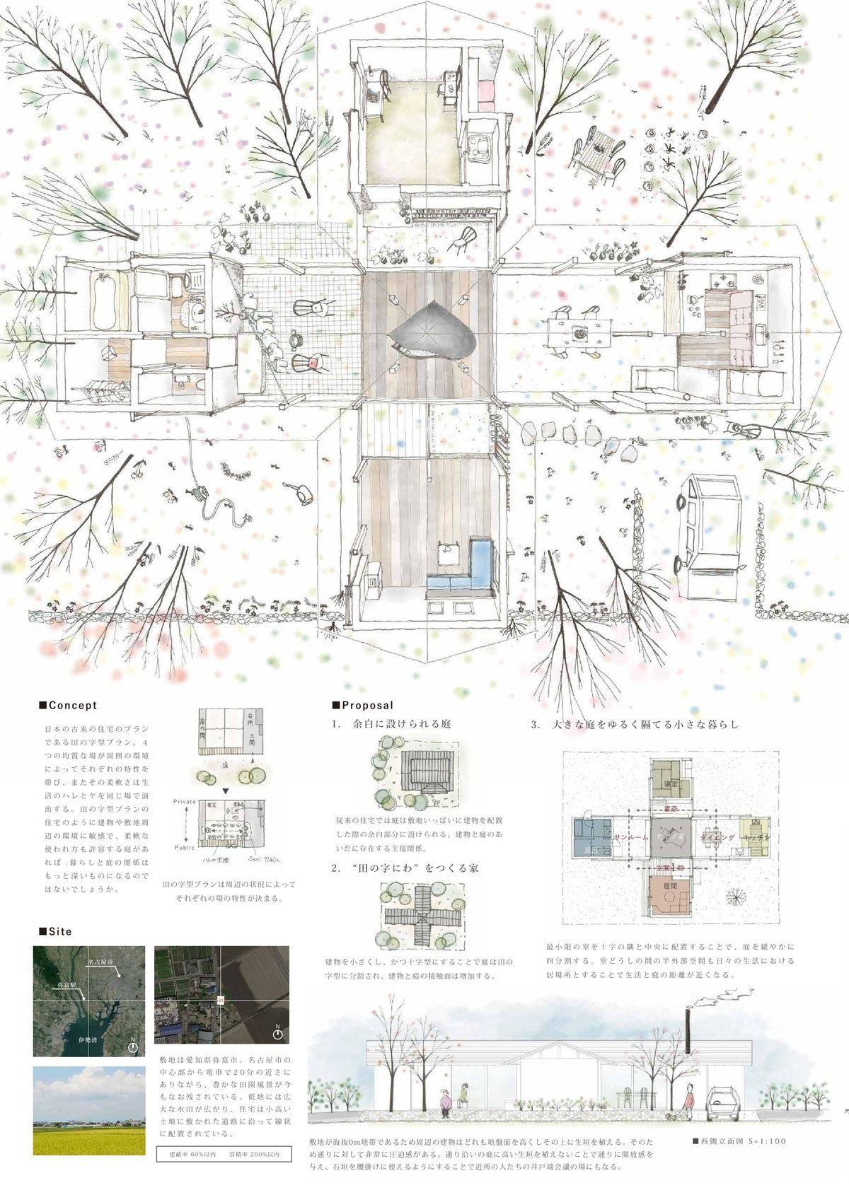 受賞作品 木の家設計グランプリ 建築コンペ 建築パース 建築スケッチ