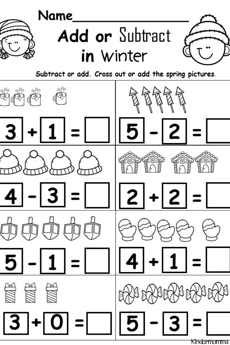 Kindergarten Addition And Subtraction Worksheets Kindermomma Math Addition Worksheets Kindergarten Math Worksheets Addition Addition And Subtraction Worksheets