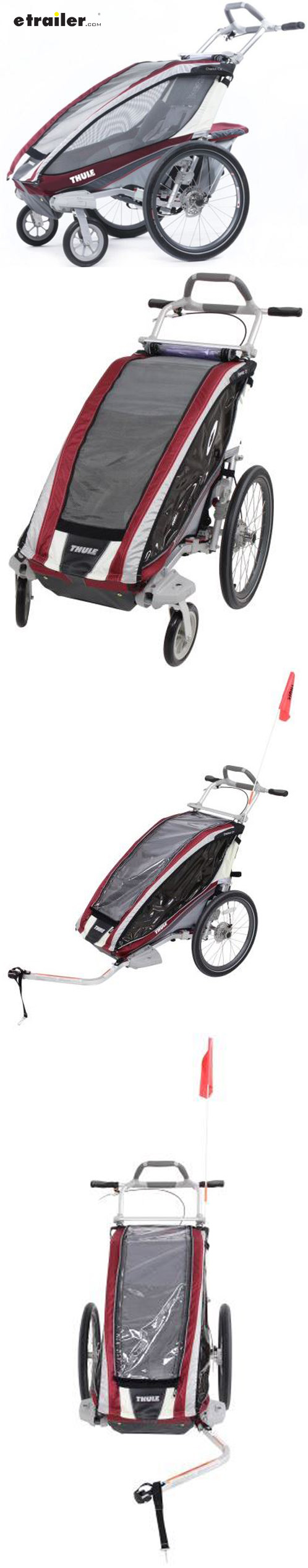 This bike trailer and stroller offers safety and comfort with features like disc hand brakes, ergonomic handlebar, and side window venting. Built-in brackets make it easy to store conversion kits (sold separately) for jogging or hiking and skiing.