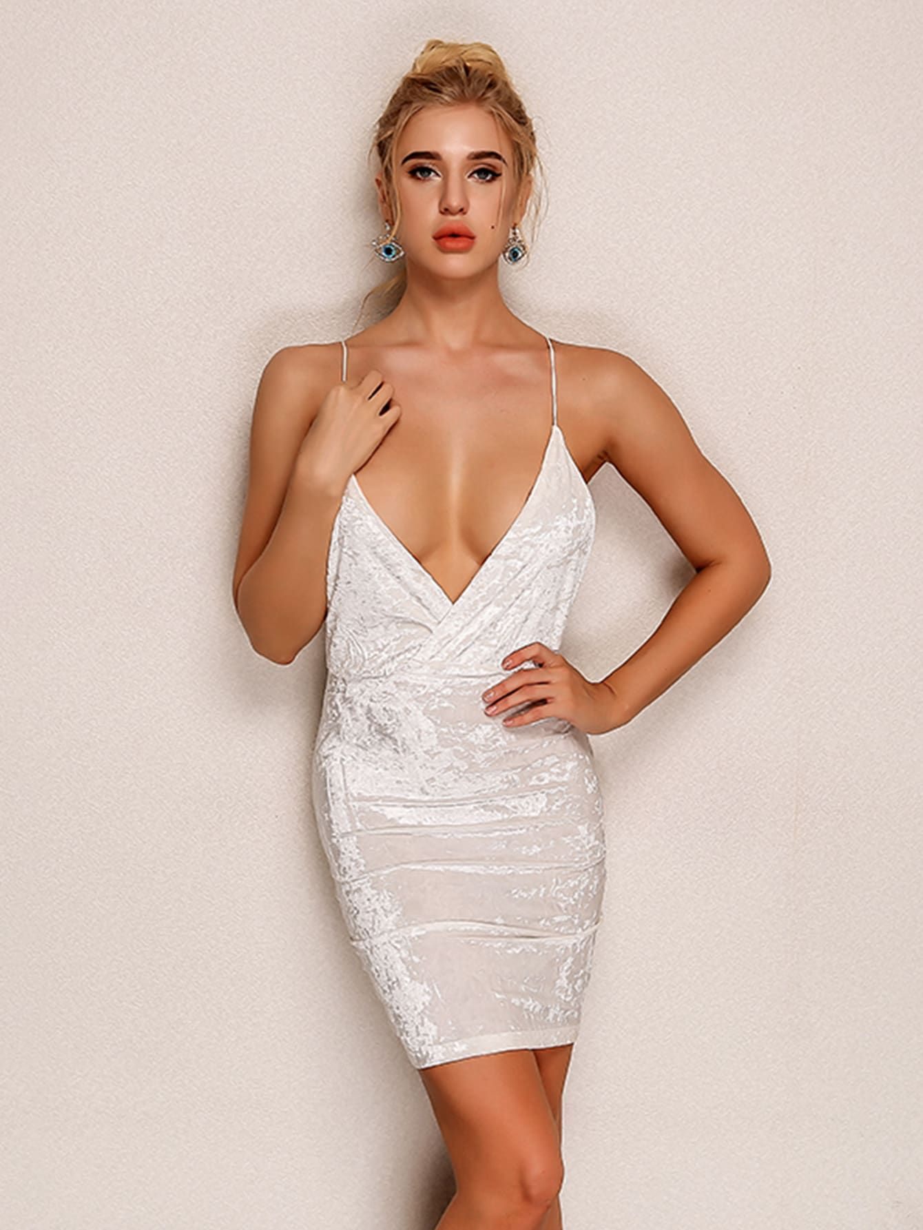 Sexy Slip Wrap Plain Bodycon Deep V Neck Sleeveless Natural White Mini  Length Joyfunear Plunging Neck Armhole Velvet Cami Dress 95ff197b91e6