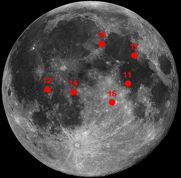 Apollo landing sites. Fun to try and spy when doing a ...