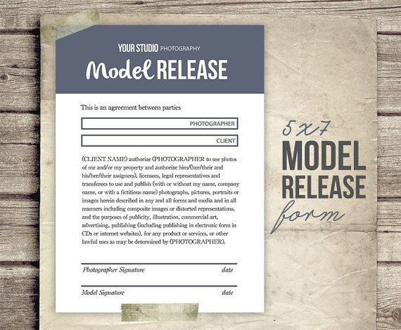 Model Release Form For Photographers By Studiotwentynine On Etsy