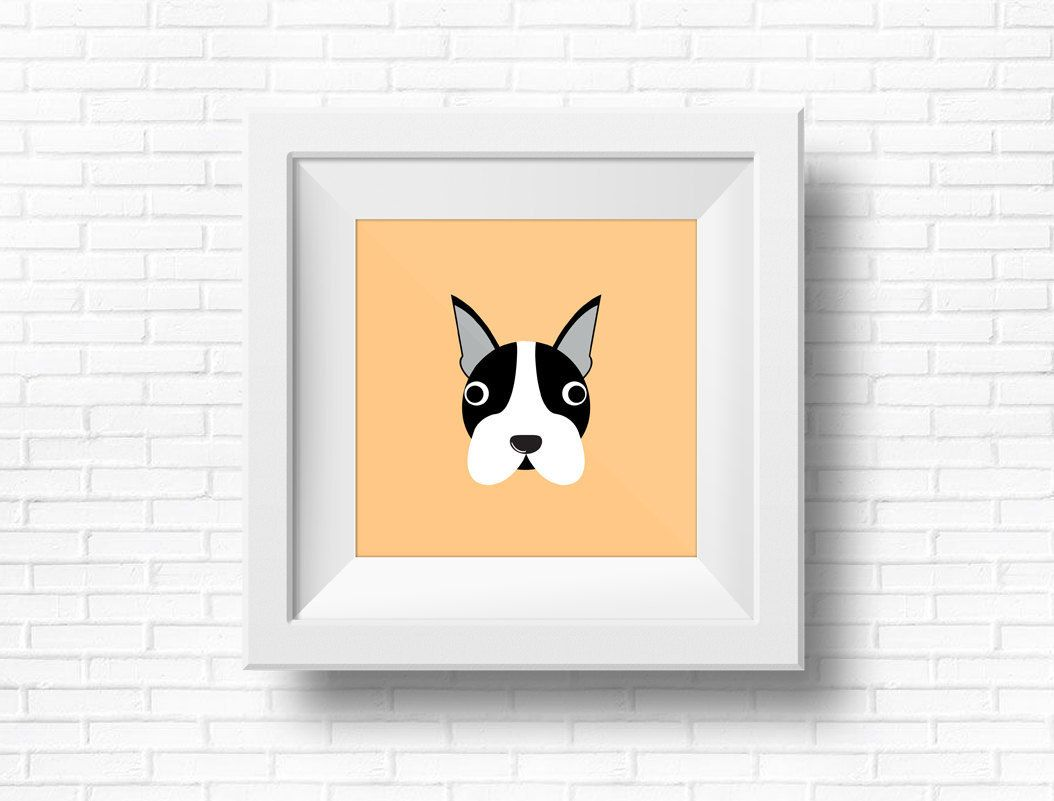 BOSTON TERRIER! Valentines Gift. Dog Characters. wall Decor ...