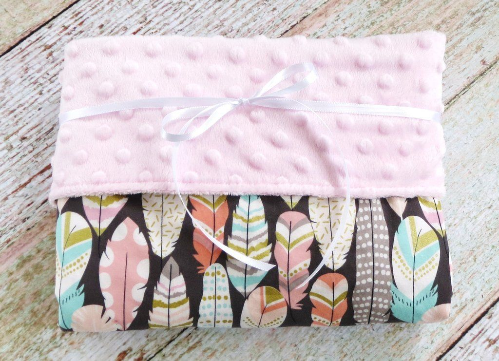 Baby Girl Blanket Pink Minky Blanket Feather Blanket Tribal Baby Blanket Boho Baby Blanket