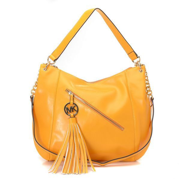 Michael Kors Charm Tassel Convertible Shoulder Tote Yellow * Yellow leather  with golden hardware. *
