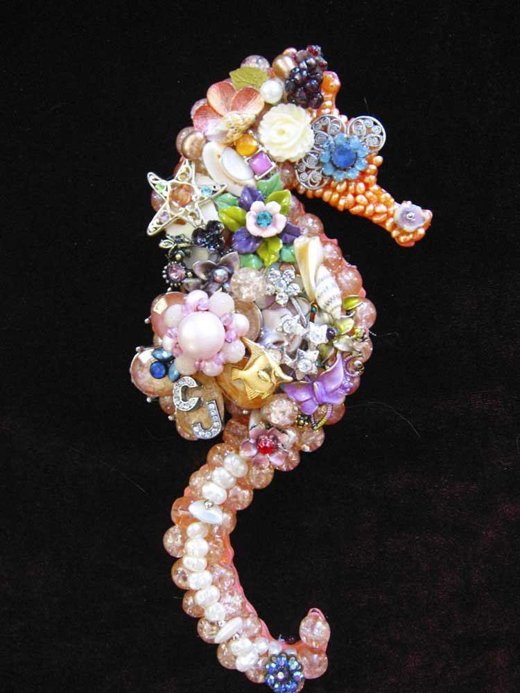 Saya Seahorse Vintage Jewelry Mosaic Wall Art | Beach ...