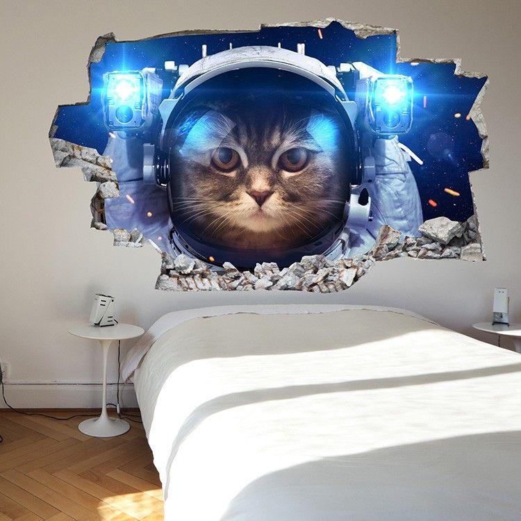 Adesivo da parete 3d gatto nello spazio saldi su lesara