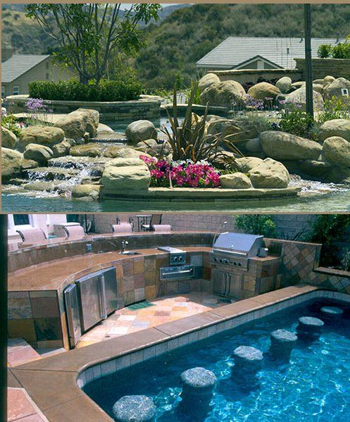 Luxury House Pool With Waterfall And Slides: Luxurious Pool With A Waterfall And Natural Botanical Feel