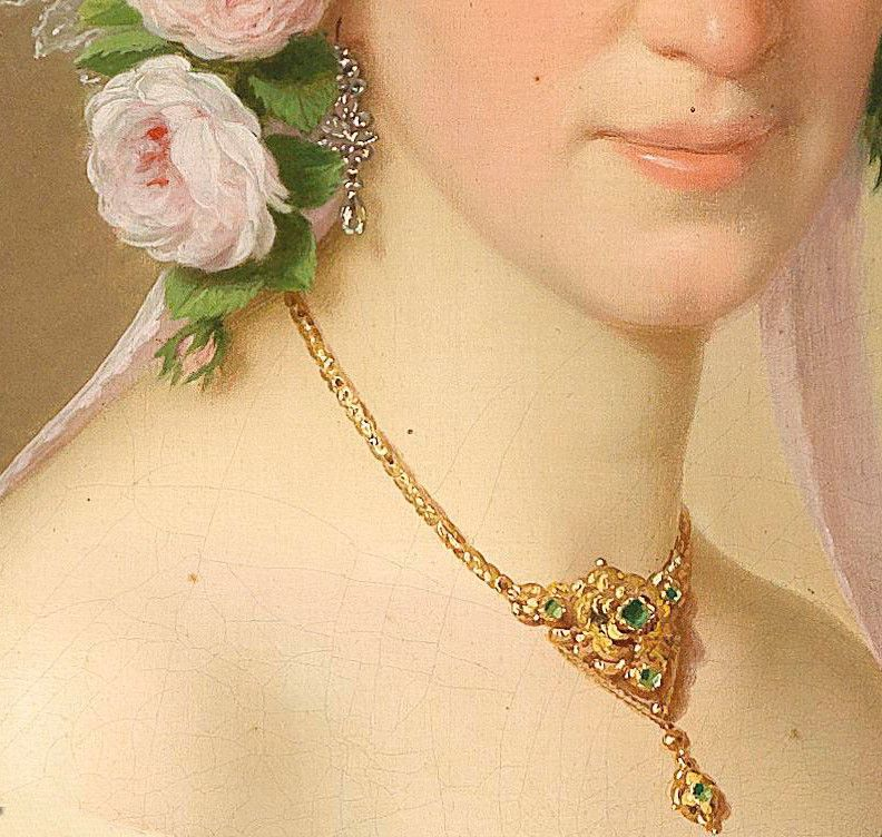 Portrait of a lady with roses in her hair, Detail (1854) by Joseph - Comment Peindre Du Papier Peint