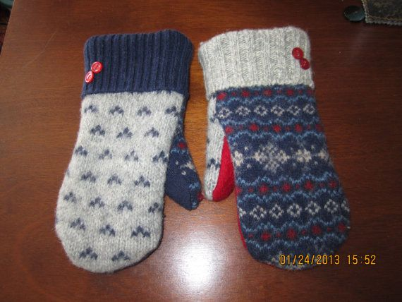 Blue Gray Red MISMATCHED Felted Wool Mittens Lined by MittenMomma, $20.00