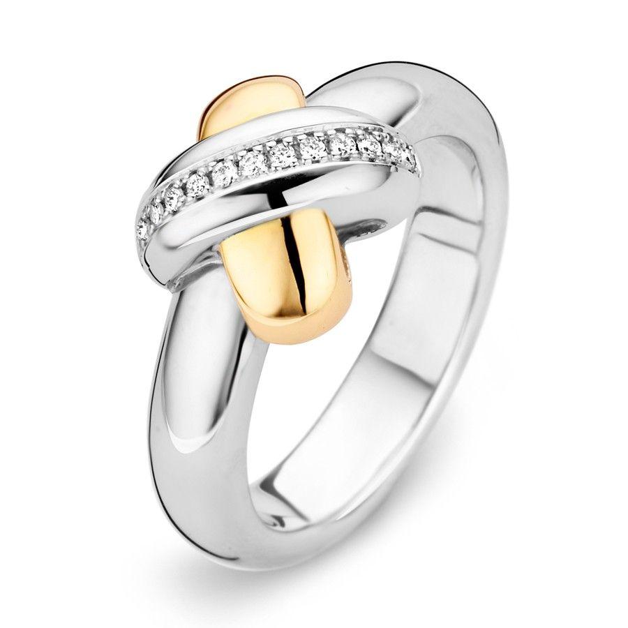 Tirisi Moda TM1079D-2T - Tirisi Moda Zilveren Ring met 18 karaats Geelgoud en Diamant kopen?   BoumanOnline - Juweliers van huis uit!