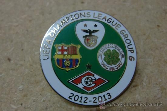 Pin badge F C Barcelona Benfica Celtic Sparta Moscu Champions League 2012 2013 (Coleccionismo Deportivo - Pins de Deportes - Fútbol)