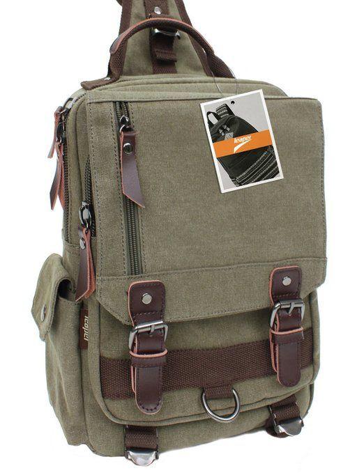 36560555d0c Leaper Canvas One Strap Sling Cross Body Messenger Bag Shoulder Backpack  Rucksack (L,Army Green)