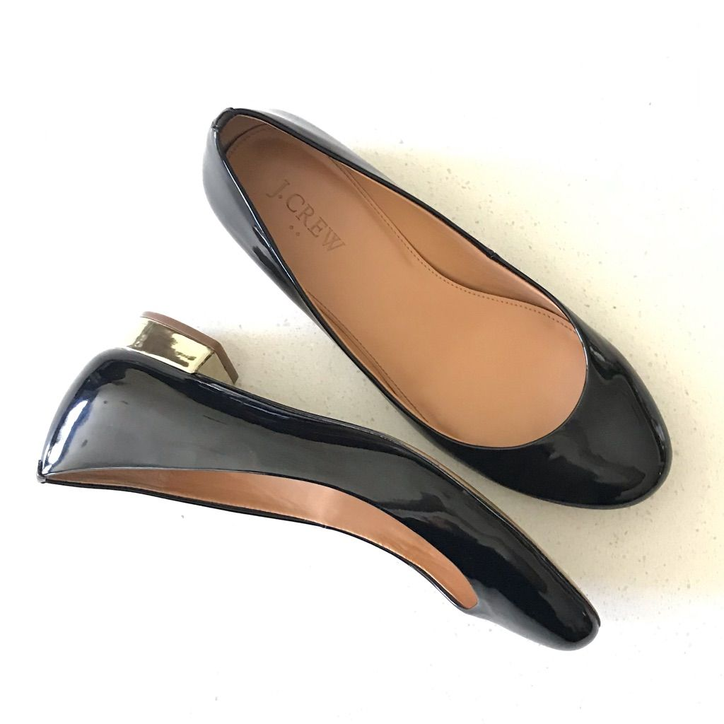 J. Crew Shoes | J. Crew Janey Black Patent Leather Gold Heel Flats | Color: Black/Gold | Size: 6.5 J. Crew Shoes | J. Crew Janey Black Patent Leather Gold Heel Flats | Color: Black/Gold | Size: 6.5