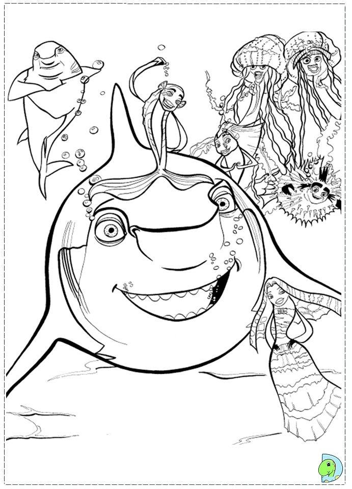 Pin by julia on colorings pinterest coloring pages for Shark tale coloring pages