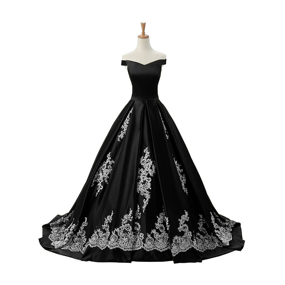 Chic Off The Shoulder Pleats Black Prom Dress Princess Lace Up Satin Prom Dress Lace Appliques Long Sweep Train Prom Dress 020102721 From Dressesofgirl D [ 1000 x 1000 Pixel ]