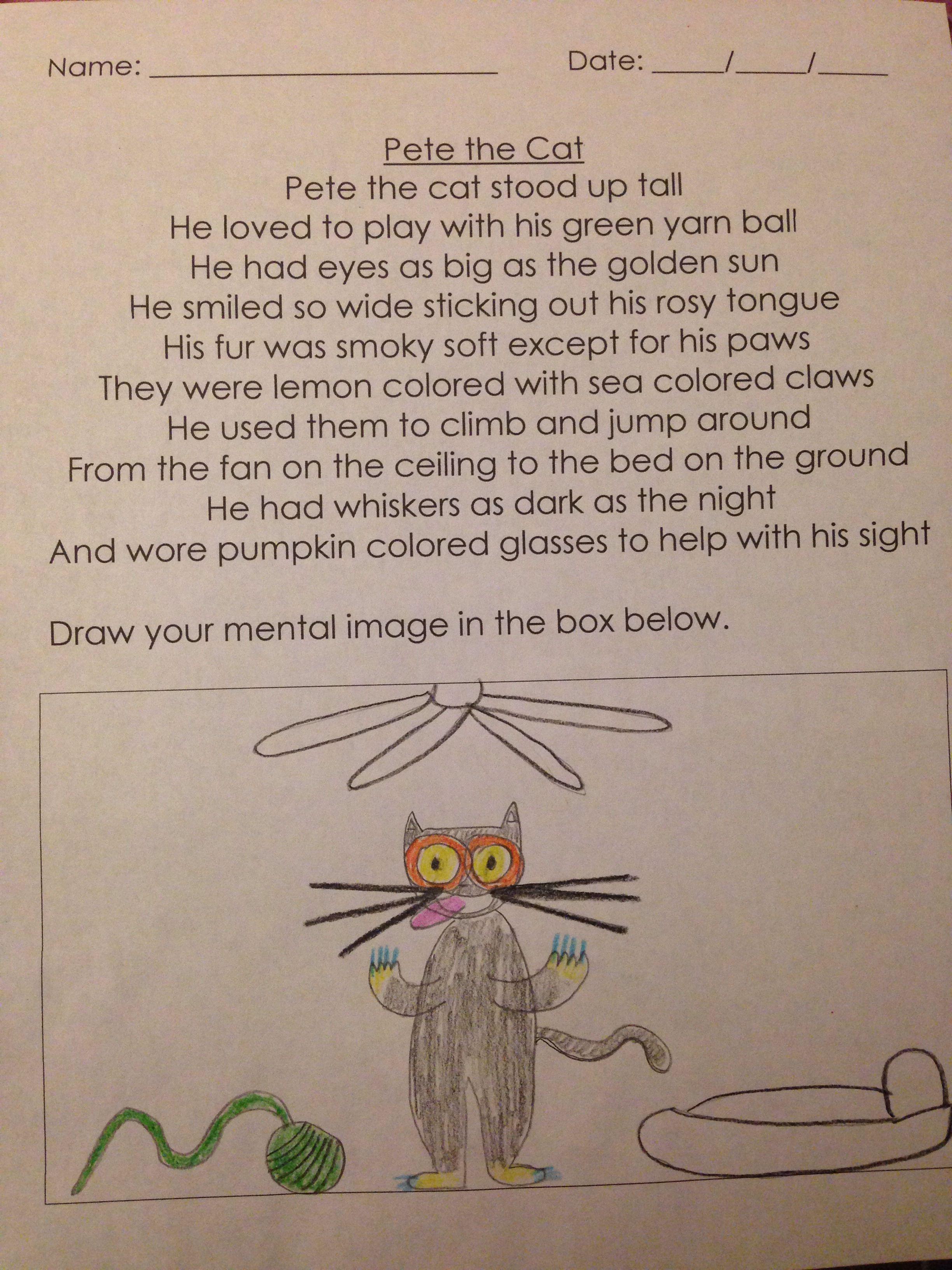 Visualization Mental Image Poem For Kindergarten Poetry Unit Pete Free Reading Comprehension Worksheets Kindergarten Poems Reading Comprehension Worksheets [ 3264 x 2448 Pixel ]