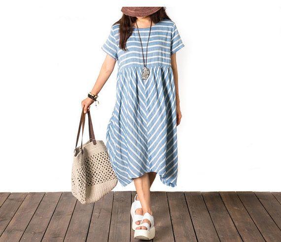 Women Cotton Summer dress/Short sleeve dress/loose by chaxuan