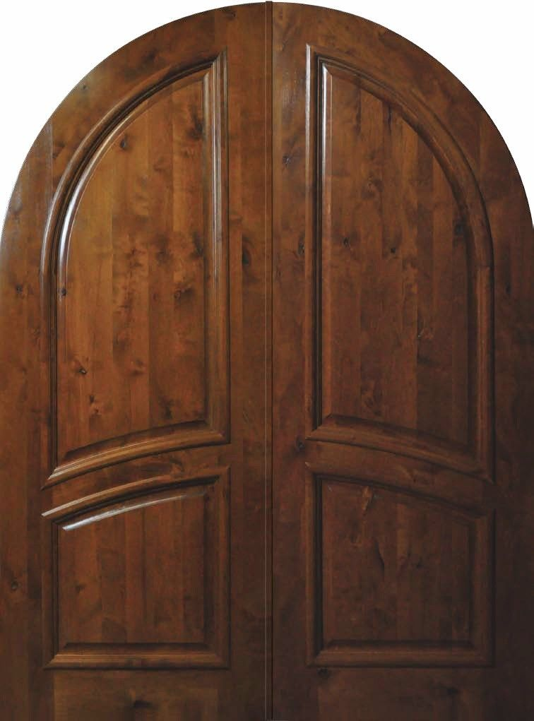 Slab front double door 96 wood knotty alder 2 panel round for Knotty alder wood doors