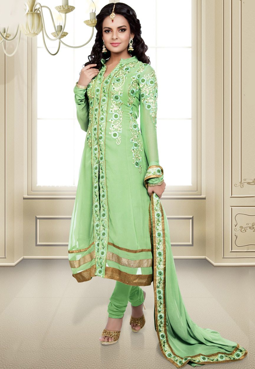 Light Pista Green Faux Georgette Churidar Kameez Online Shopping: KAF25