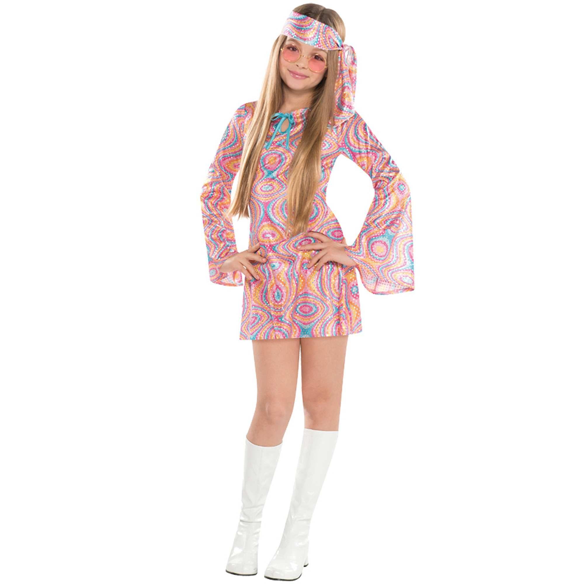 70er anni vestito Dancing Queen per Donna Blu Retrò Hippie Costume Festa SALE/%/%