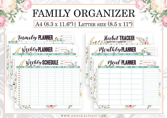 Family Organizer Printable, Homeschool, Hourly Planner, Weekly