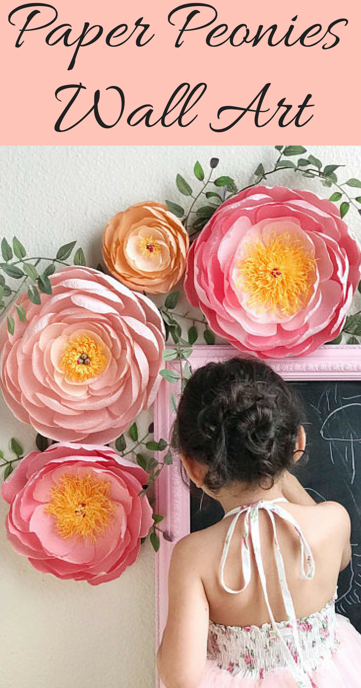 Absolutely Lovely Paper Peonies Wall Art Pink Coral And Orange Tones Look Great Together Coral Charm Peo Paper Flower Wall Giant Paper Flowers Paper Flowers