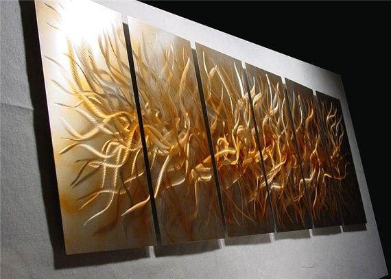 Chaos Golden6 X Large 76x24 Abstract Modern Metal By Niderart 245 00 Metal Sculpture Wall Art Wall Sculpture