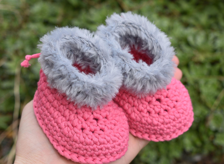 0d5dd6b0743e0 Pink Handmade Crochet Knitted Baby Babies Infant Girl boots booties ...