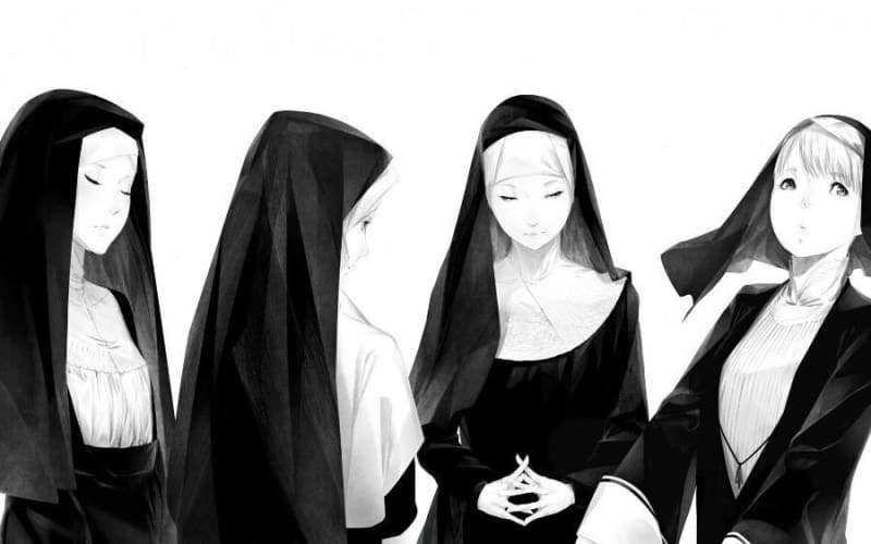 Anime nun girls poster canvas wall art girl posters