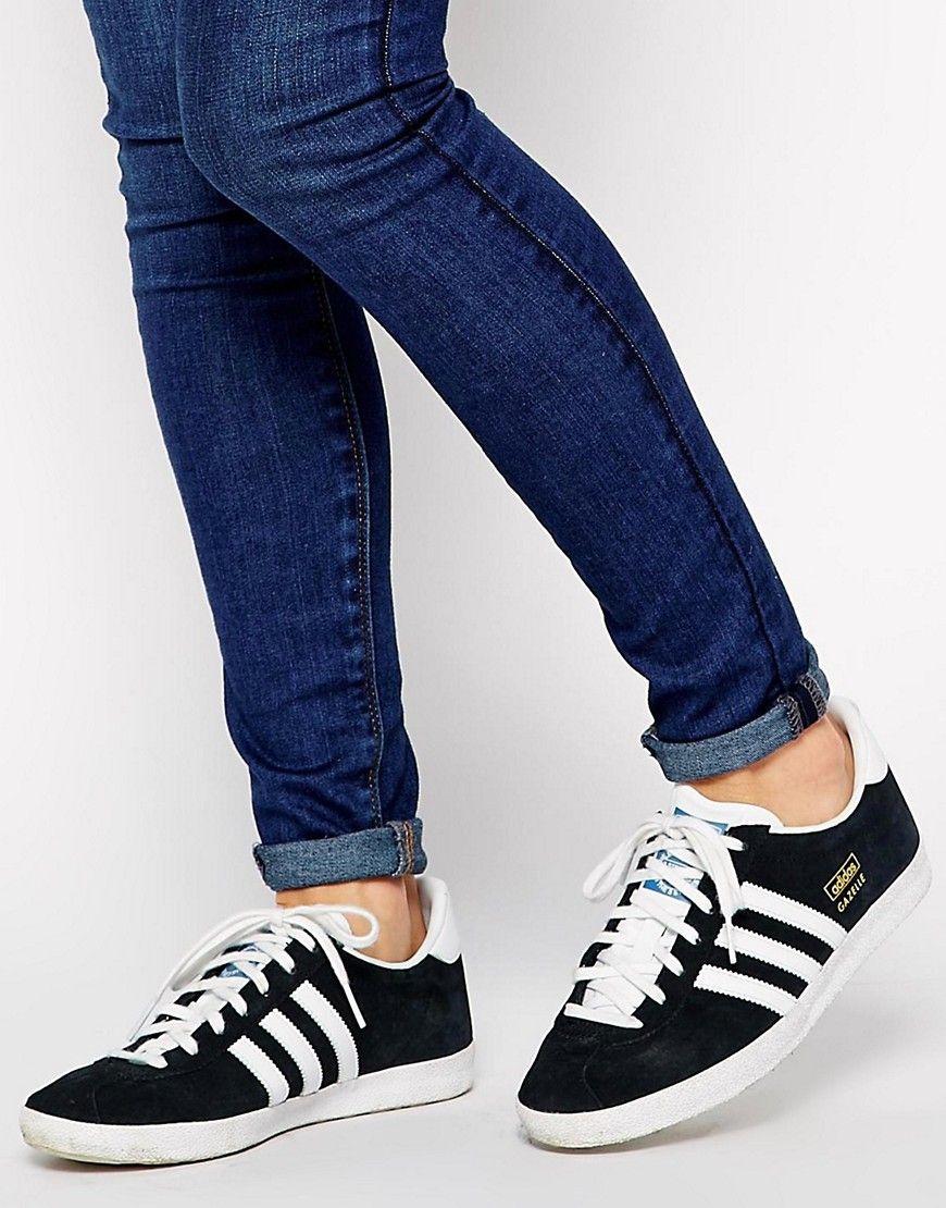 Zapatillas de deporte de ante negro Gazelle de adidas Originals 5T2N15r
