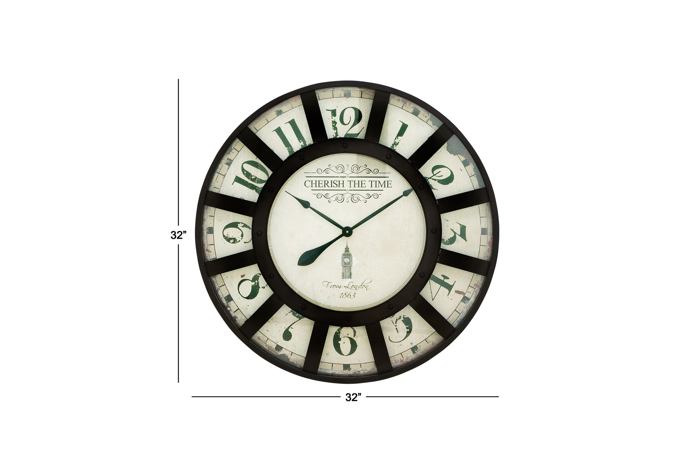 Vintage Reflections Round Wall Clock With 13 Window Iron Frame