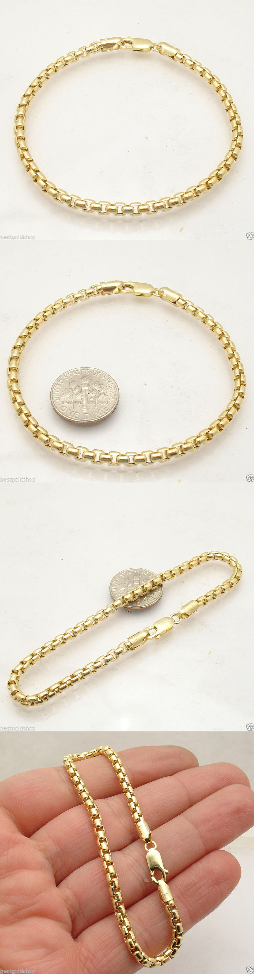 Real 10K Yellow Gold Venetian Round Box Chain Bracelet Lobster Clasp