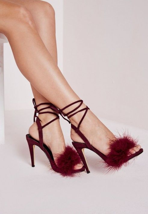 Lace Up Feather Heeled Sandals Berry