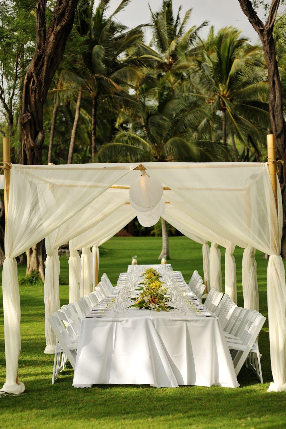 Bamboo Dining Canopy With White Lanterns Set Over A Grand Dining Table White Lanterns Lantern Set Maui Weddings