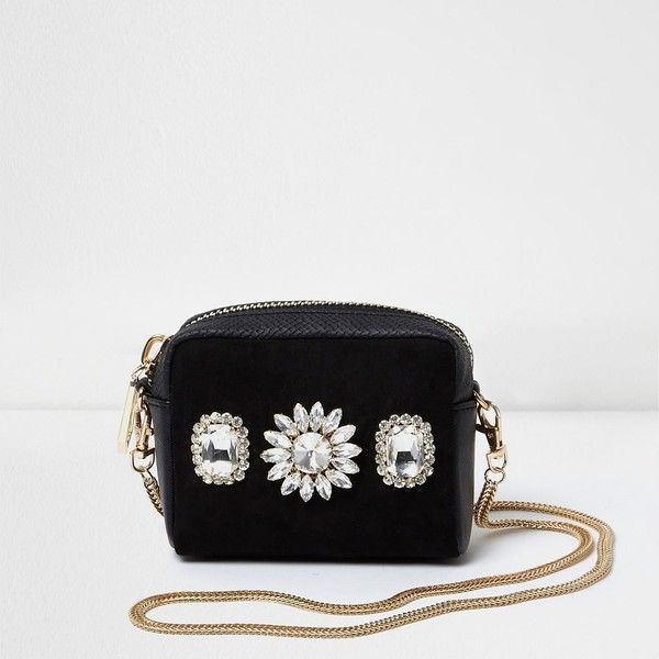 3377e5931920 River Island Black rhinestone mini cross body chain bag ( 44) ❤ liked on  Polyvore featuring bags