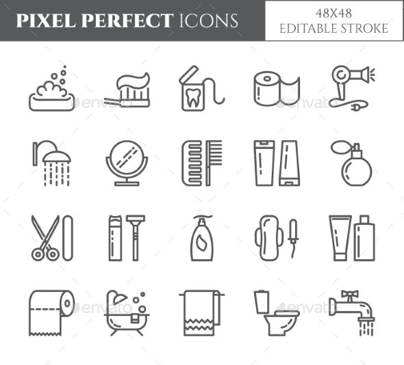 Personal hygiene pixel perfect line icons. Set of elements