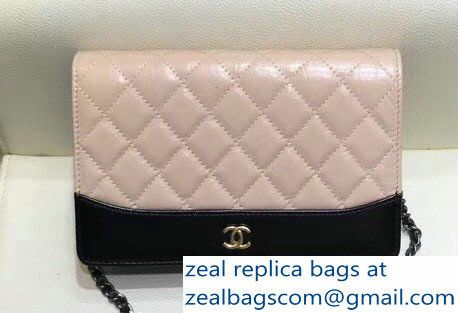 b93f12c638c0 Chanel Crumpled Calfskin Gabrielle Wallet On Chain WOC Bag A84389  Apricot/Black 2018