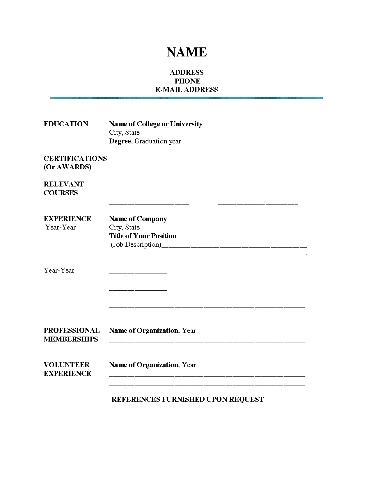 blank resume template word - Blank Resume Template Word