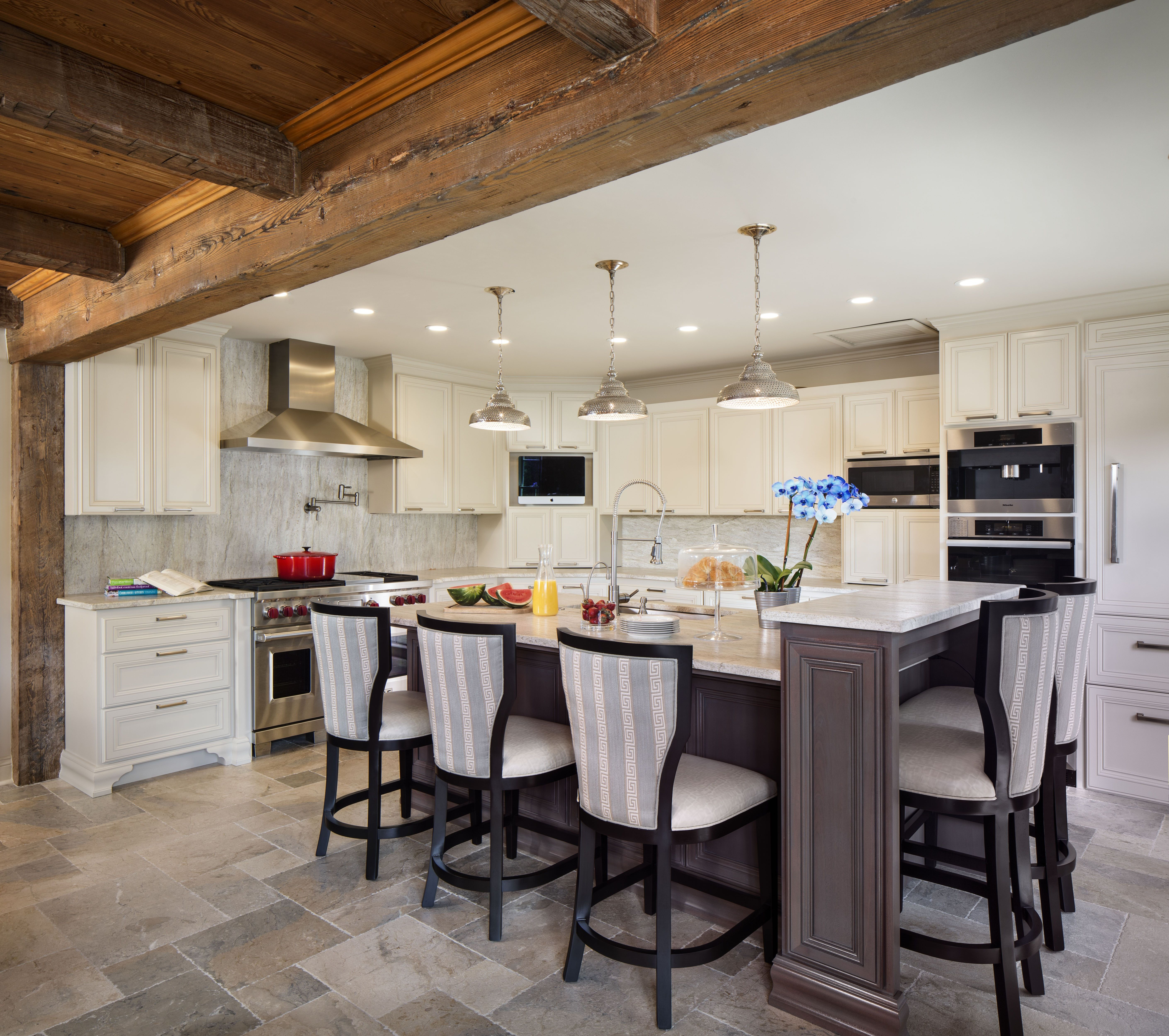 posh exclusive interiors modern french country kitchen and breakfast room with greek key on l kitchen interior modern id=67602