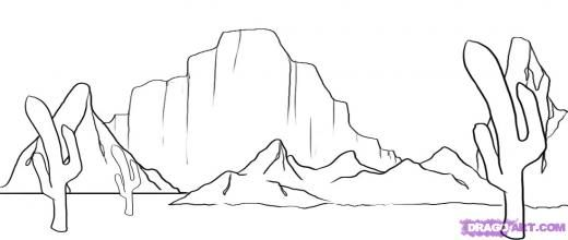 Desert Coloring Pages Google Search Desert Drawing Desert Painting Landscape Sketch