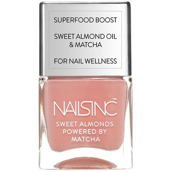 Nails inc Sweet Almonds Nail Polish Powered by Matcha, King William... ($14) ❤ liked on Polyvore featuring beauty products, nail care, nail polish, nails inc. and nails inc nail polish