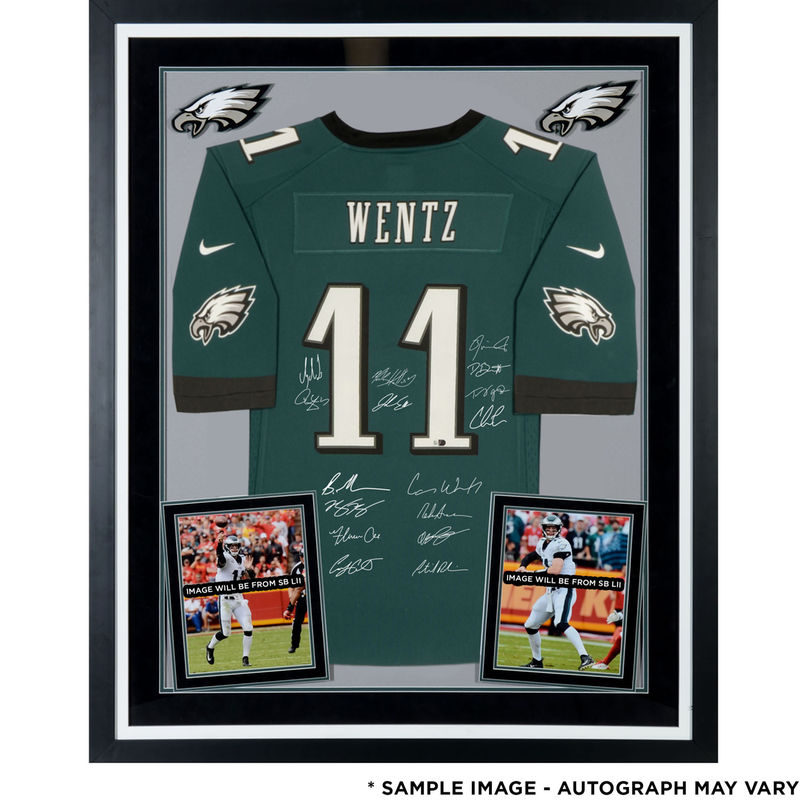 48f29116d Philadelphia Eagles Fanatics Authentic Super Bowl LII Champions Deluxe  Framed Autographed Carson Wentz Green NFL Pro-Line Jersey with Multiple  Signatures