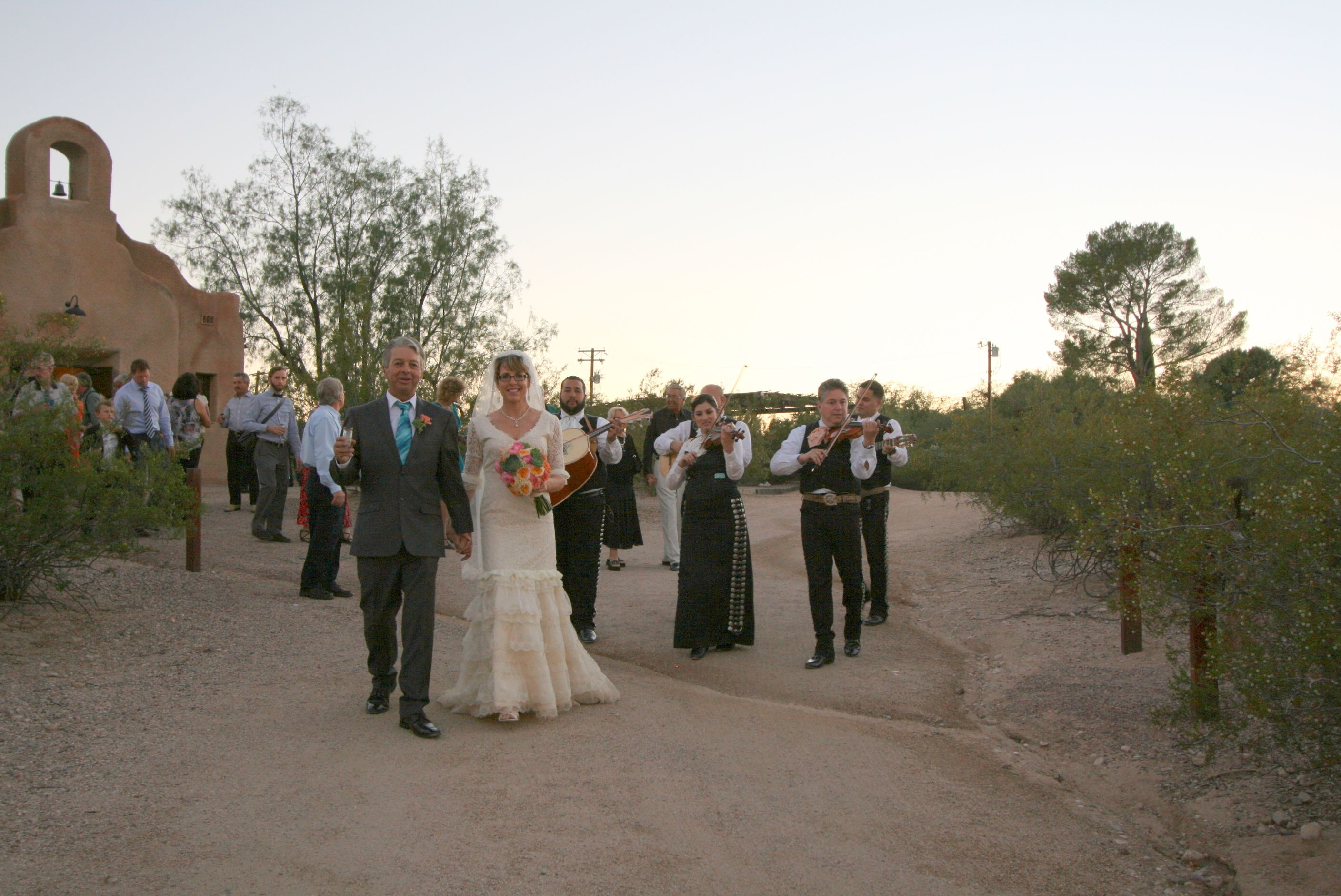 Wedding parade with Mariachi at San Pedro Chapel in Tucson, Arizona ...