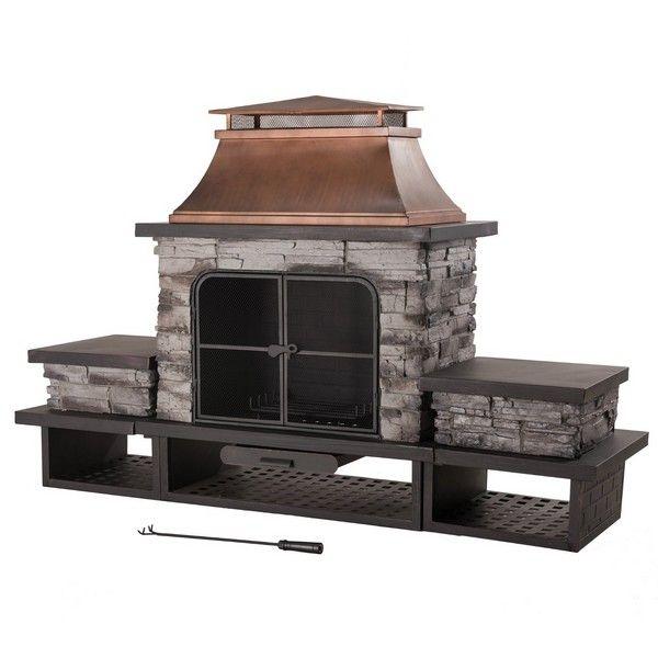Sunjoy Stone Prefab Outdoor Fireplace Kits Outdoor Fireplace Outdoor Fire Outdoor Fireplace Kits