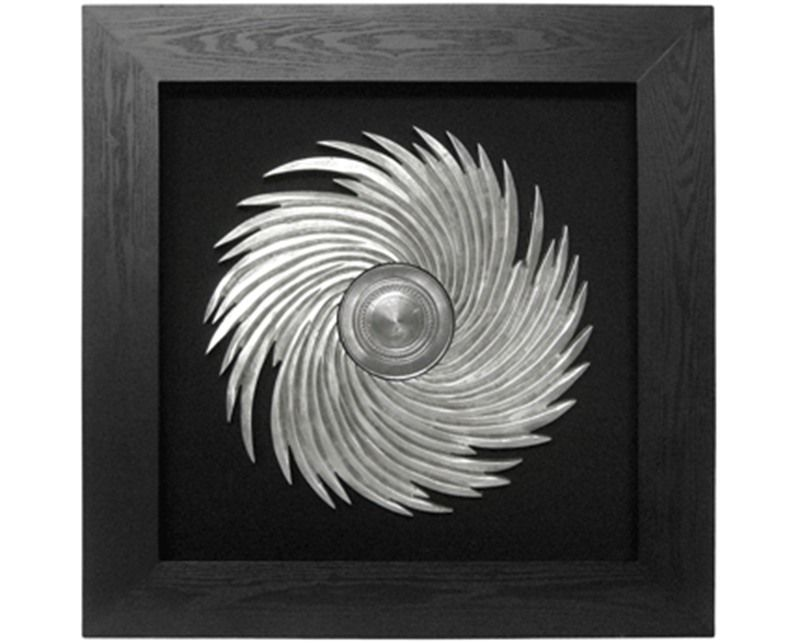 Silver and cream framed art silver sunburst black framed wall art