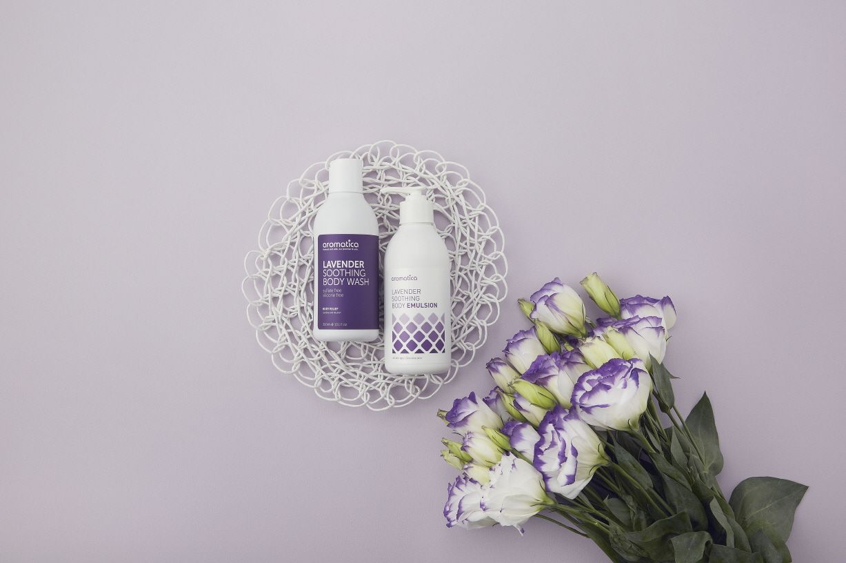 LAVENDER SOOTHING BODY CARE. It leaves your skin soft, gently moisturized.